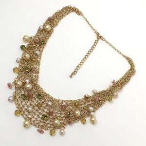 Rhinestones & Pearls Gold Mesh Bib Necklace Chain